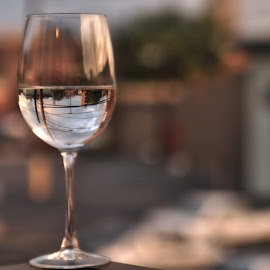 Reflections of a Skyline by Geoffrey Chen - Artistic Objects Glass ( reflection, sunset, wine glass, cityscape, bokeh,  )