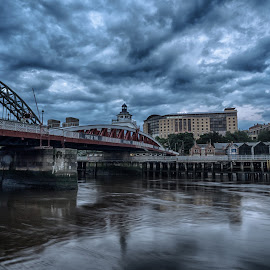 Tyne Bridges by Adam Lang - City,  Street & Park  Historic Districts ( clouds, sky, hdr, tyne, hotel, bridges, river )