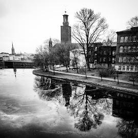 City reflections by Anci Alverborg - Instagram & Mobile Android ( city hall, water, b&w, stockholm, black and white, mobile photos, reflections, cityscape, city skyline, city )