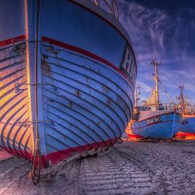 Thorup Strand by Ole Steffensen - Transportation Boats ( fishing vessels, jammerbugten, sunset, boats, beach, denmark, thorup strand,  )