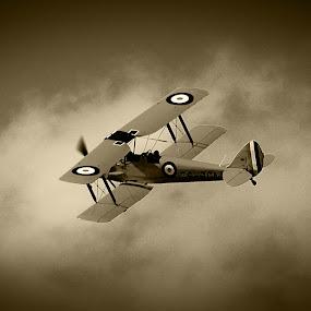 Bi-plane by Johan Niemand - Transportation Airplanes ( flight, radial, old, airplane, prop )