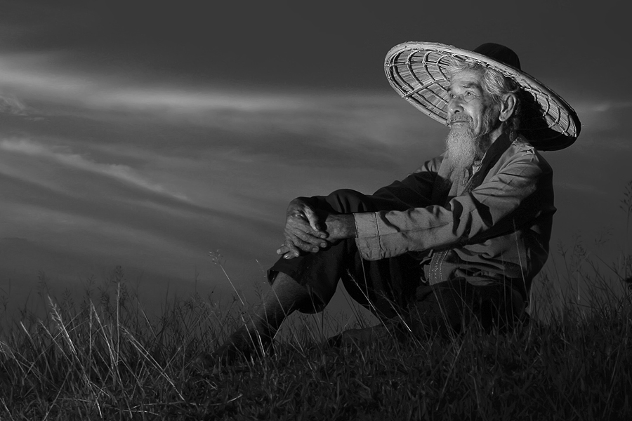 at the edge of age by Fre Ghothic - People Portraits of Men ( black and white, senior citizen )