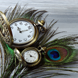by Dipali S - Artistic Objects Other Objects ( technology, clockwise, clock face, chrome, dial, jewelry, equipment, peacock feather, time, man made, metal, timer, wooden background, tachometer, minute hand, clockworks, ideas, clock, elegance, watch, instrument, concepts, measurement, luxury, second hand, accuracy )