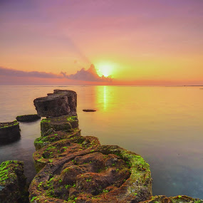 Sanur Beach by Dede GreenHolic - Landscapes Sunsets & Sunrises ( water, bali, sanur, stone, sunrise, beach )