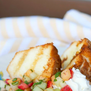 Grilled Angel Food Cake with Fruit & Mint Salsa