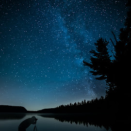 Taking Milky Way Photos by James Wheeler - Landscapes Starscapes ( person, photograph, silhouette, plants, way, shine, sparkle, travel, landscape, space, twinkle, people, photography, adventure, camp, sky, nature, dark, photographer, starbright, evening, light, black, milkyway, canada, beautiful, male, camera, trekking, hobby, atmosphere, scenic, wilderness, quebec, blue, stars, outdoor, background, trees, night, view, tripod, milky, outside, galaxy, starry )