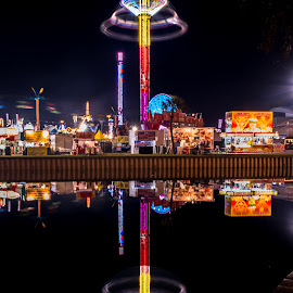 Reflections... by Ken Wagner - City,  Street & Park  Amusement Parks ( reflection, night photo, florida, nikon, state fair, midway )