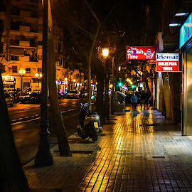 At night in Valencia by Karin Wollina - City,  Street & Park  Street Scenes ( lights, life, cosy, nightlights, street, night, spain, city )