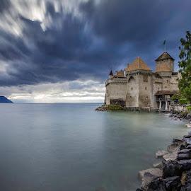 Château de Chillon, Montreux, Switzerland by Nikolas Ananggadipa - Landscapes Travel ( clouds, lakes, switzerland, montreux, castle, landscape, landscapes )