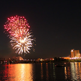 by Kristy Shamburg - Public Holidays July 4th ( water, reflection, fireworks, july, 4th, fire,  )