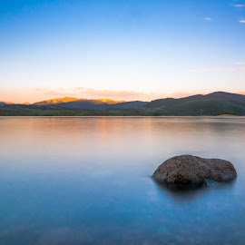 Frisco Lake by Mike Thompson - Novices Only Landscapes ( water, mountians, orange, dawn, sunset, rock, night, long exposure, lake, landscape, dusk )