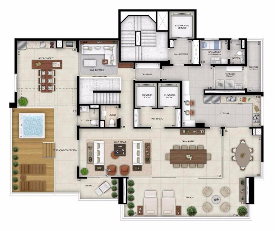 Planta Cobertura Duplex Inferior - 514 m²