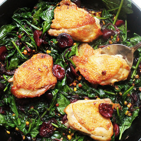 Crispy Chicken Thighs with Caramelized Corn, Cherries, and Spinach
