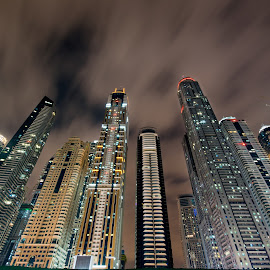Skyscraper by Péter Mocsonoky - Buildings & Architecture Office Buildings & Hotels ( illuminated, urban, building, skyscraper, dubai, architecture, high, marina, light, tall, city )