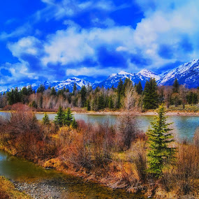 ----------The Grand Tetons---------- by Neal Hatcher - Landscapes Mountains & Hills ( rivers and mountains )