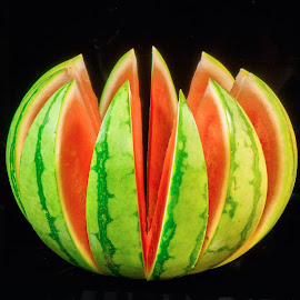 Twelve Watermelon Slices by Jim Downey - Food & Drink Fruits & Vegetables ( red, green, sliced, yellow, watermelon, black )
