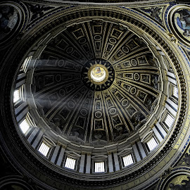 Saint Peter Dome by Matteo Kutufa - Buildings & Architecture Public & Historical ( contrast, lights, church, details, rome, collage, ray of light, dome, gold, basilica, shadows, black )