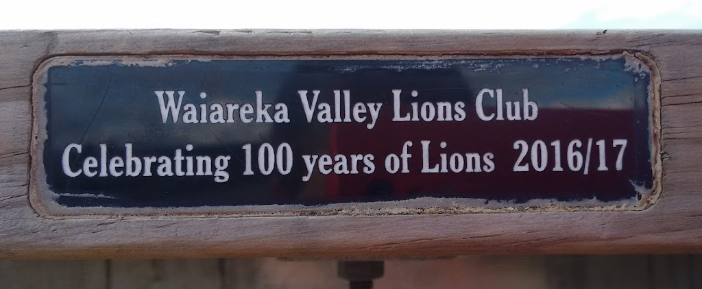 Transcript:Waiareka Valley Lions ClubCelebrating 100 years of Lions 2016/17Notes:The plaque is on the side of a picnic table at the entrance to Elephant Rocks.Submitted by:Judith Swan