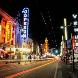 Granville Street entertainment district by Cory Bohnenkamp - City,  Street & Park  Street Scenes ( canada, granville, long exposure, night, bc, vancouver, entertainment, granville street )