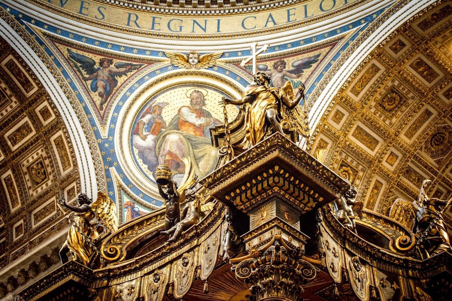 St. Peters Basilica  by T Sco - Buildings & Architecture Architectural Detail ( rome, ceiling, art, tomb, church, spirit, paint, building, pray, burial, painting, st peters, basilica, spiritual, detail, italy )