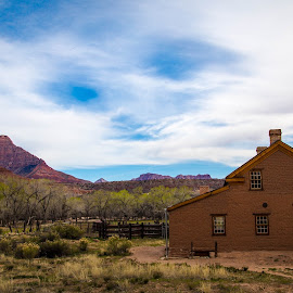 Grafton home by Richard States - Buildings & Architecture Decaying & Abandoned ( clouds, grafton, desert, utah, adandoned, ghost town, landscape, red cliffs )