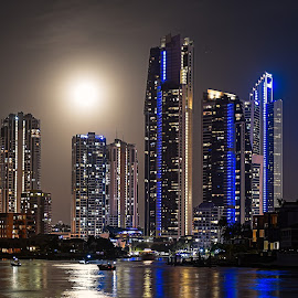 Gold Coast Skyline by Matthew Wood - Buildings & Architecture Office Buildings & Hotels ( colour, lights, reflection, moon, australia, night, cityscape, city, nightscape )