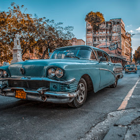 Classic car in Havana by Justin Welch - Digital Art Places ( car, blue, popular, artistic, fine art, classic, favourite, cuba )