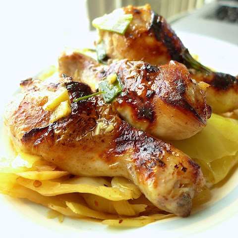 Five-spice roast chicken drumsticks / Hot and sour cabbage