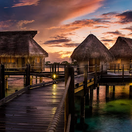 Mysty Memories by Rebecca Ramaley - Buildings & Architecture Office Buildings & Hotels ( clouds, bungalows, pearl beach, tahiti, sky, resort, tikehau, overwater, myst )