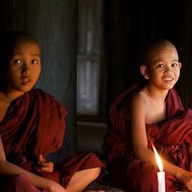 smiler by Charlie Davidson - Babies & Children Child Portraits ( temple, myanmar, monks, boys, children, burma )