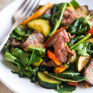 Paleo Grilled Beef Stir Fry with Asian Almond Dressing