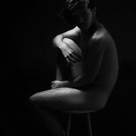 Melancholy by Sarah Campo - Nudes & Boudoir Artistic Nude ( loneliness, black and white, bodyscape, artistic nude, spotlight,  )