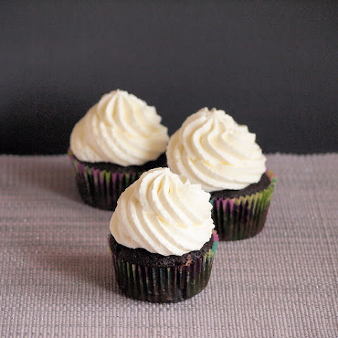 Dark Chocolate Cupcakes with Almond Mascarpone Frosting