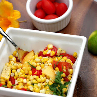 Fresh Corn Salsa with Cherry Tomatoes & Sweet Peaches