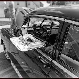 Black and White Sedan with tray by Greg Bracco - Transportation Automobiles ( canon, suffolk county, classic cars, greg bracco, new york car show, north babylon, deer park ave, long island, canon 5dmarkiii, car show, greg bracco photography., greg bracco photography,  )