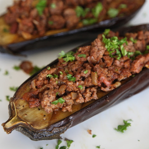 Roasted Eggplant Stuffed with Lamb