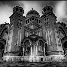 St Andrew's Cathedral, Patras by Panoc Mp - Buildings & Architecture Public & Historical ( clouds, building, church, black and white, patras, st andrew's cathedral, cathedral )