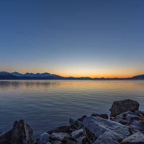 Sunset over sea by Benny Høynes - Landscapes Waterscapes ( water, mountains, colors, sunset, sea, landscapes )