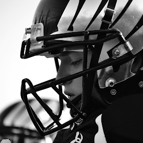 Visioning Victory by Cassidy Meade - Sports & Fitness American and Canadian football ( amazing, blackandwhite, football, sports, athlete )