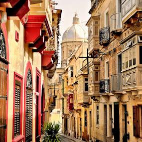 Maltese Street, Kalkara by Francis Xavier Camilleri - City,  Street & Park  Street Scenes (  )