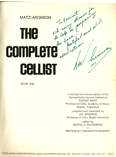 The Complete Cellist is a major work for those learning to play the cello.  These two volumes are based on Matz's instructional materials.  Lev Aronson, a German cellist who had a successful career in the United States, compiled and translated these books.  Aronson has dedicated this book to his wife, Harriet.