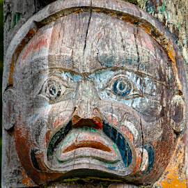 Totem Face by Keith Sutherland - Artistic Objects Still Life ( face, totem, first nations, alert bay, memorial, totem pole )