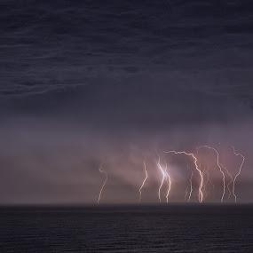 Gerringong Lightning by Ian Mills - Landscapes Weather