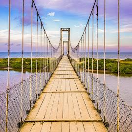 Suspended Bridge at Barra Velha Beach by Rqserra Henrique - Buildings & Architecture Bridges & Suspended Structures ( beach, purple, bridge, clouds, water, rqserra )