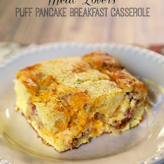 Meat Lovers Puff Pancake Breakfast Casserole