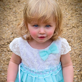 Blue Eyes Blue Dress by Tiffany Michelle - Babies & Children Toddlers ( playground, little girl, blond, cute, pretty, spring, blue dress, child, sweet, gorgeous, family, precious, blue eyes, adorable, baby, toddler, springtime, serenity, blue, mood, factory, charity, autism, light, awareness, lighting, bulbs, LIUB, april 2nd )
