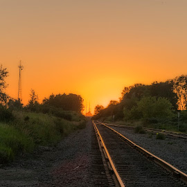 Riding Into the Sunset by LINDA HALLAUER - Transportation Railway Tracks