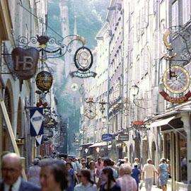 Salzburg GetreideGasse by Barry Lehman - City,  Street & Park  Street Scenes ( europe, salzburg, street scene, austria,  )