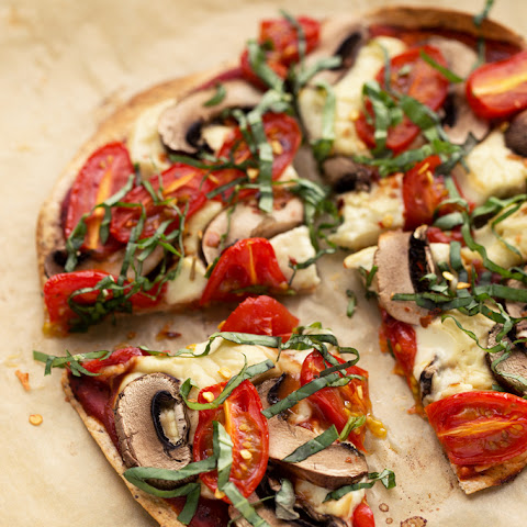 Personal Vegan Tortilla Pizza with Homemade Mozzarella, Mushrooms, Tomatoes & Basil
