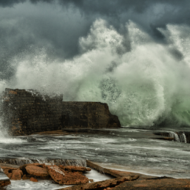 Old Harbour Breakwater during Storm by Isaac Gershon - Landscapes Beaches ( water, gust, wind, water drops, ancient, old harbour, breakwater, waves, harbour, wave, beach, storm, wall, water drop )